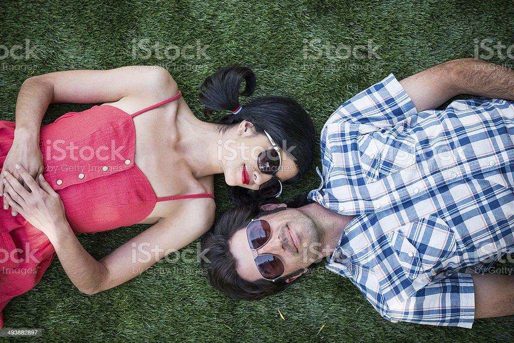 High Angle view Of Romantic Couple stock photo