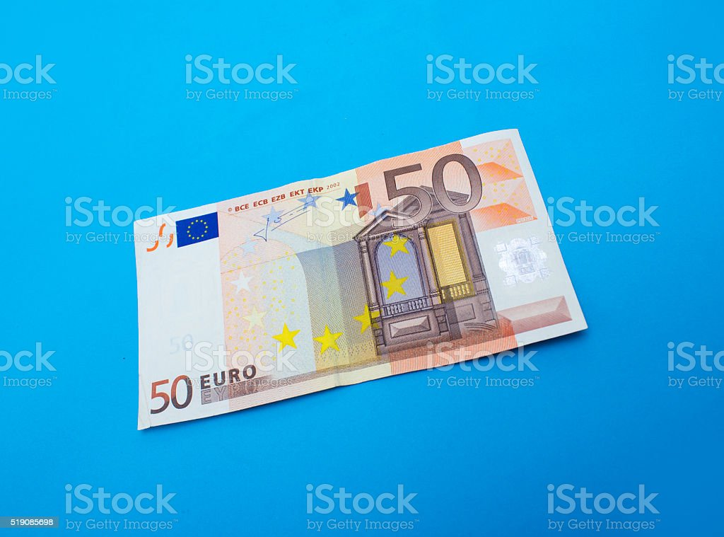 High angle view of single fifty euro banknote stock photo