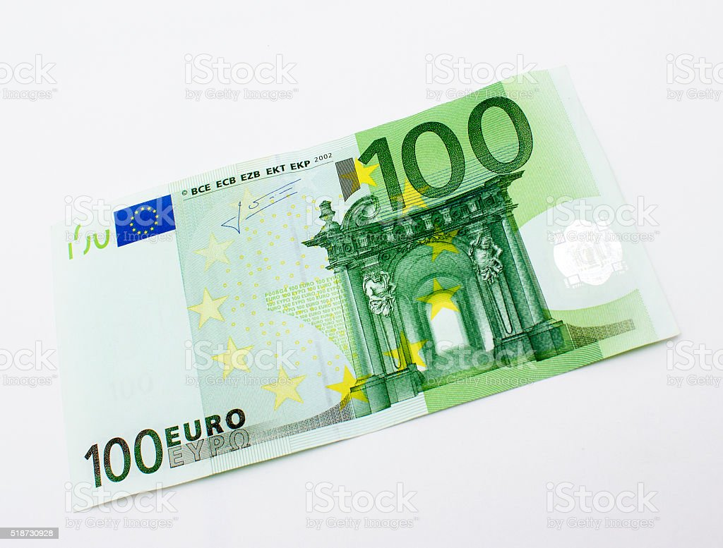 High angle view of single one hundred euro banknote stock photo