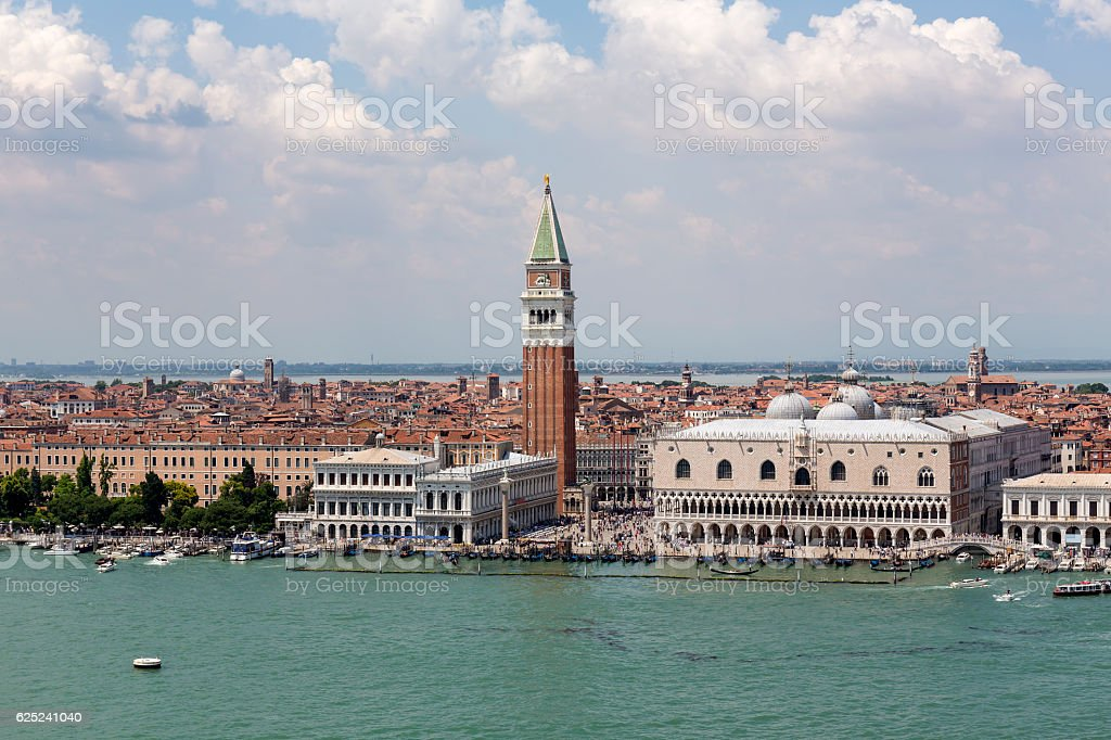 High angle view of St Mark's Square in Venice stock photo