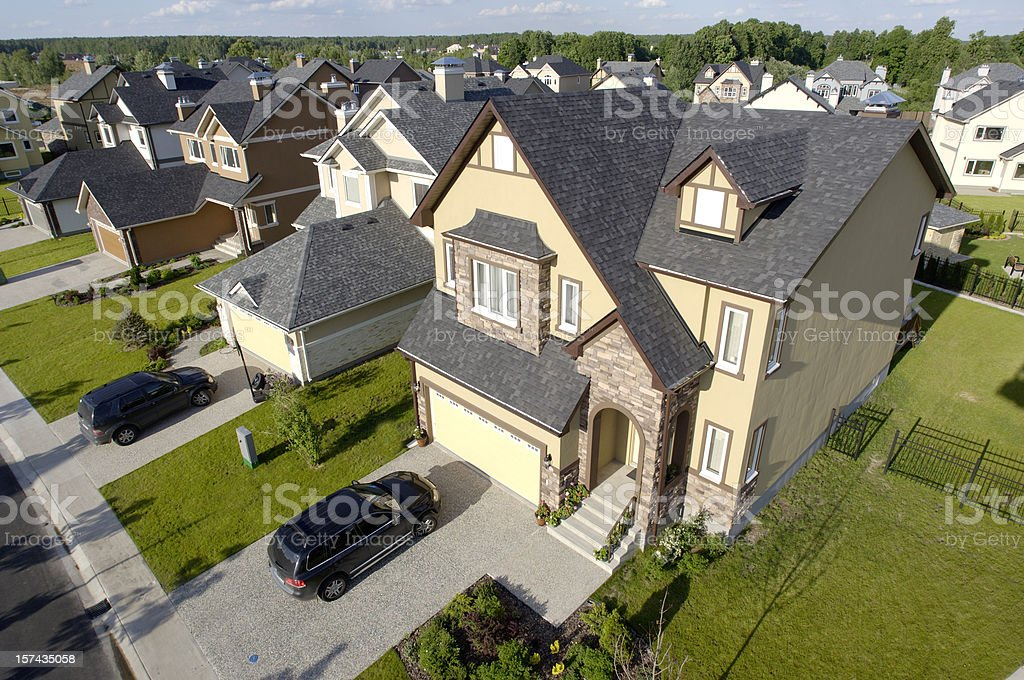 High angle view of suburban houses stock photo