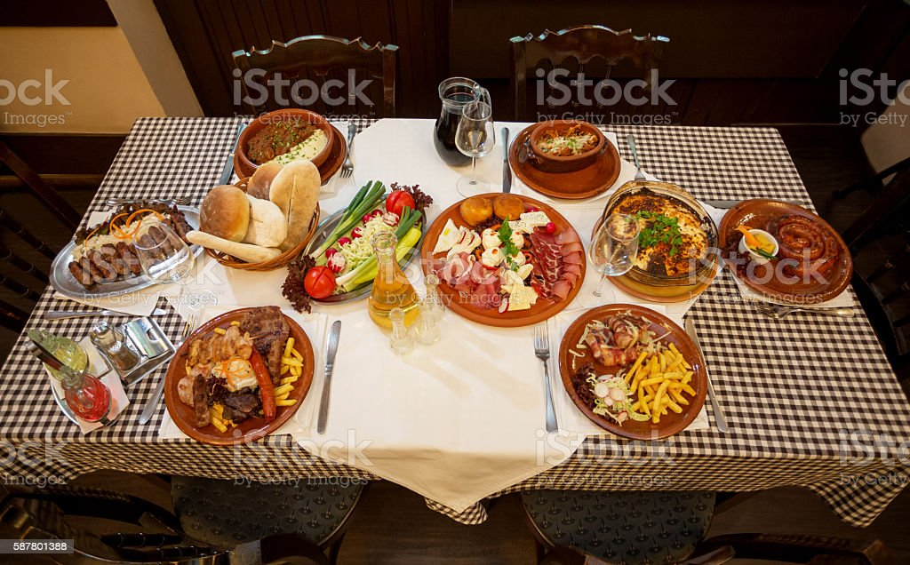 High angle view of table with served food stock photo