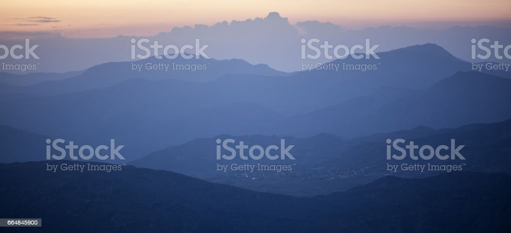 High Angle View Of Taurus Mountains From Mount Nemrut stock photo