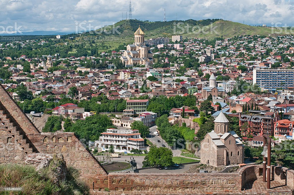 High angle view of the city of Tbilisi, Georgia stock photo
