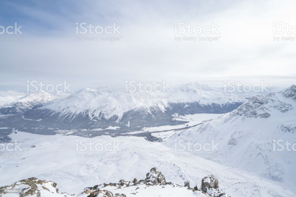 High angle view of the European Alps stock photo