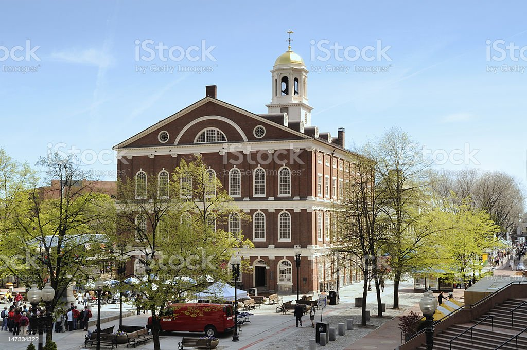 High angle view of the exterior of Faneuil Hall Market Place stock photo