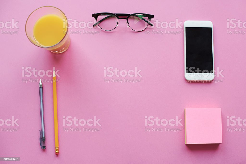 High angle view of work tools stock photo
