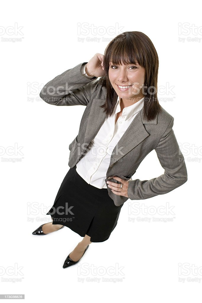 high angle view of young attractive businesswoman royalty-free stock photo