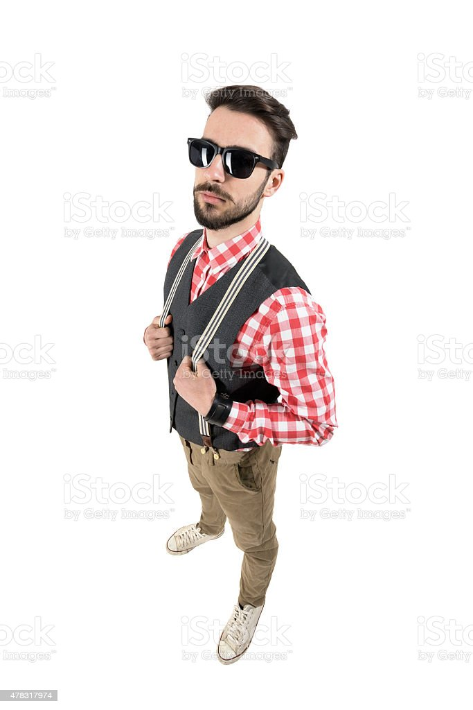 High angle view of young bearded hipster with sunglasses stock photo