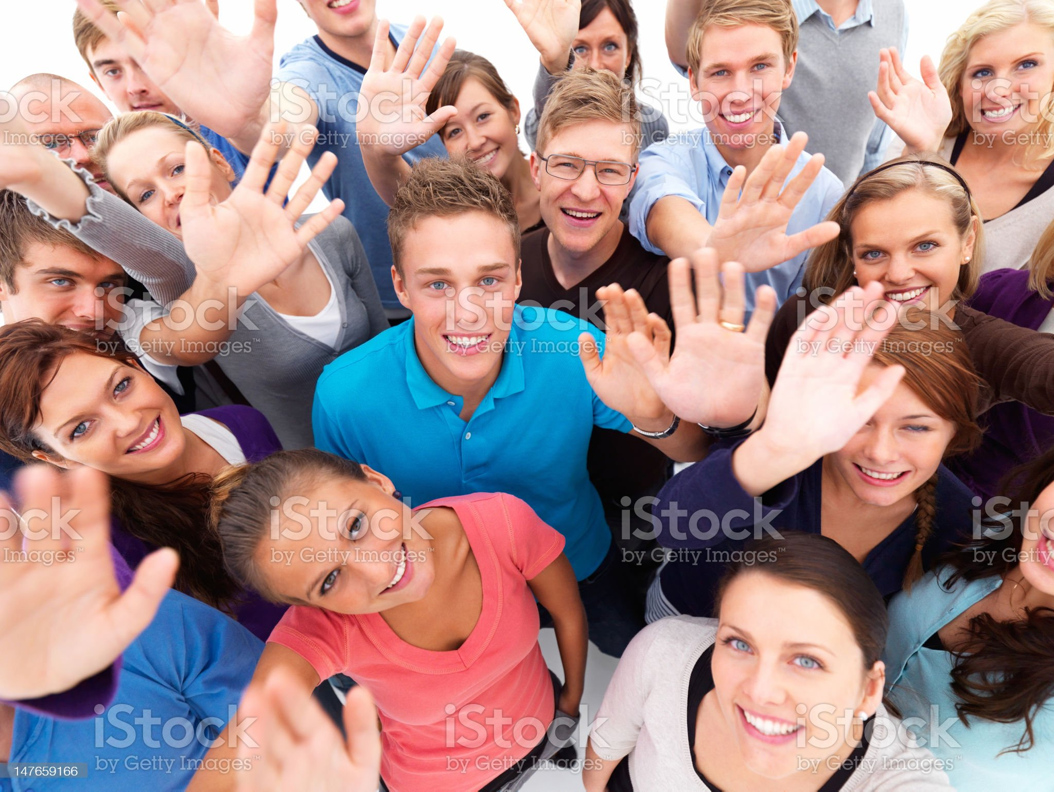 High angle view of young people standing together royalty-free stock photo