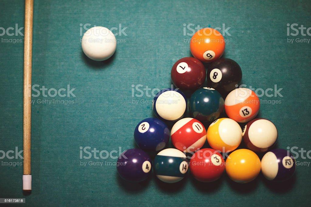 High angle view on pool table stock photo