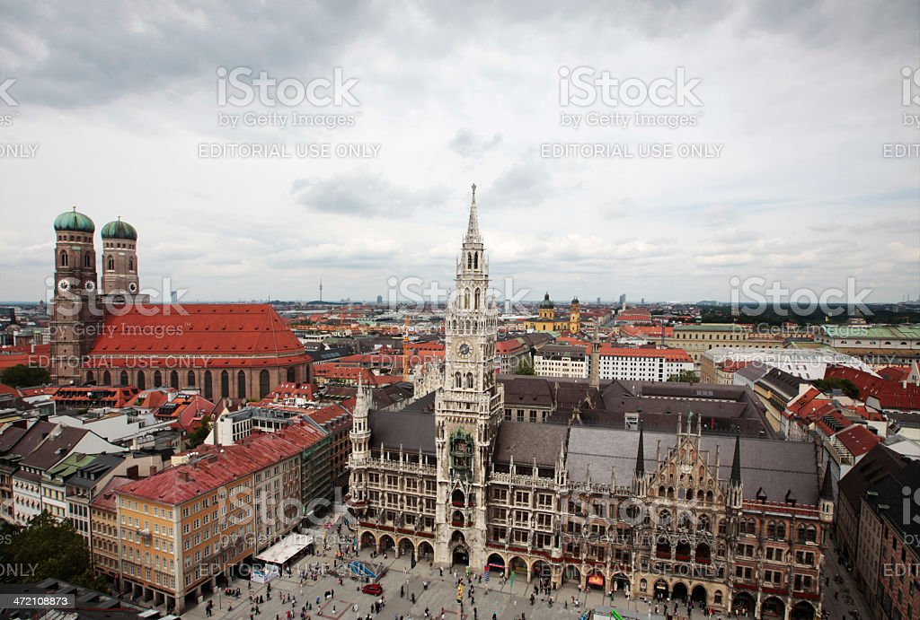 High angle view over the center of Munich stock photo