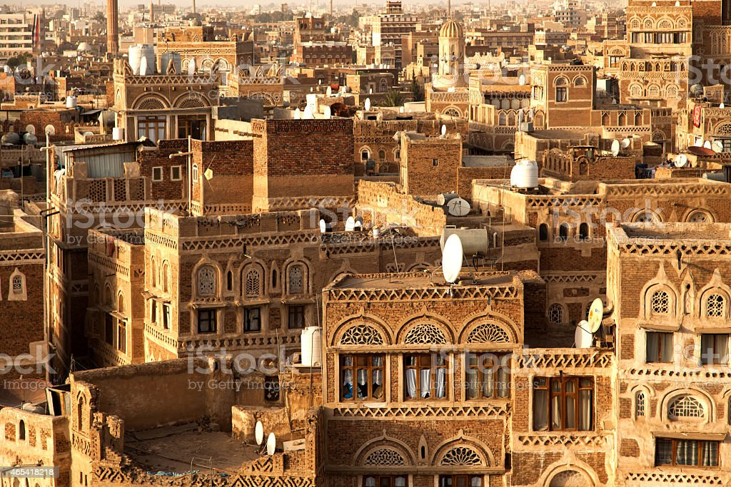 High Angle View Sanaa City stock photo