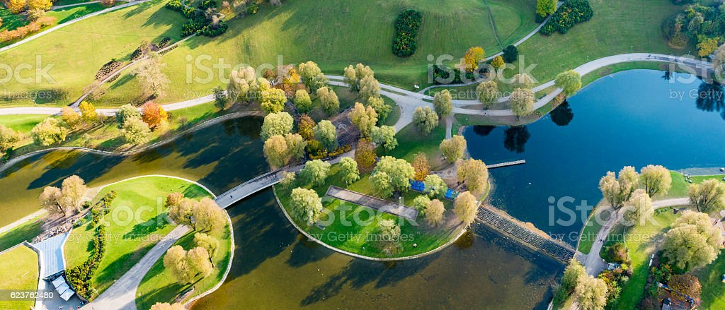 high angle view with ways and a lake stock photo