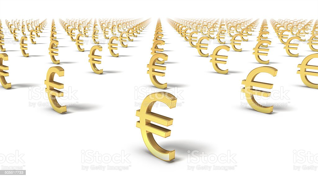 High angled diagonal view of endless Euro Symbols stock photo