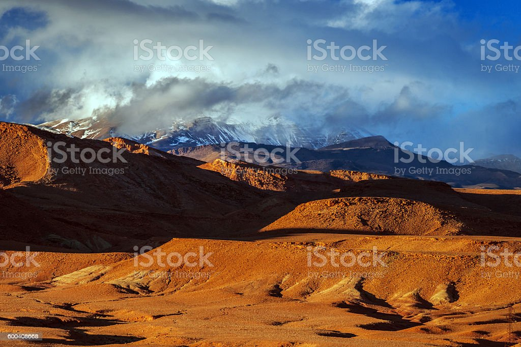 High Atlas mountains,wall, snow,after the storm Morocco, Africa stock photo
