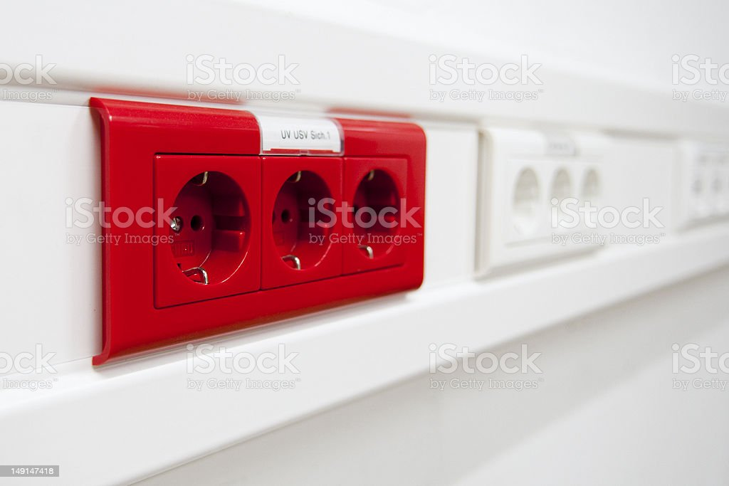 High available red power plug stock photo