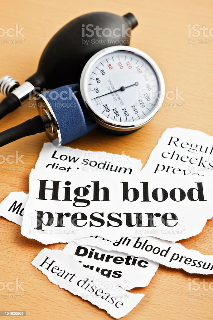 High blood pressure headlines with sphygmomanometer royalty-free stock photo