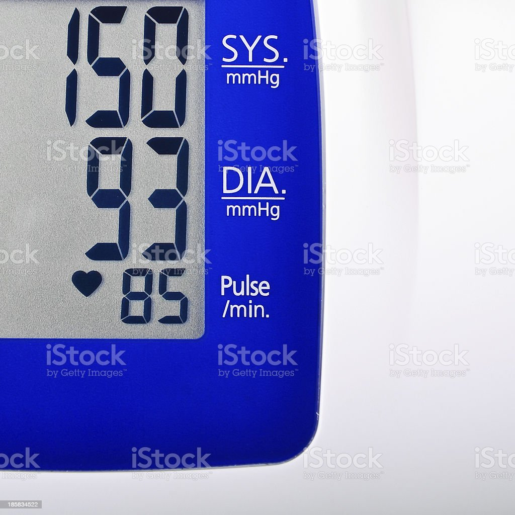 High blood pressure reading stock photo