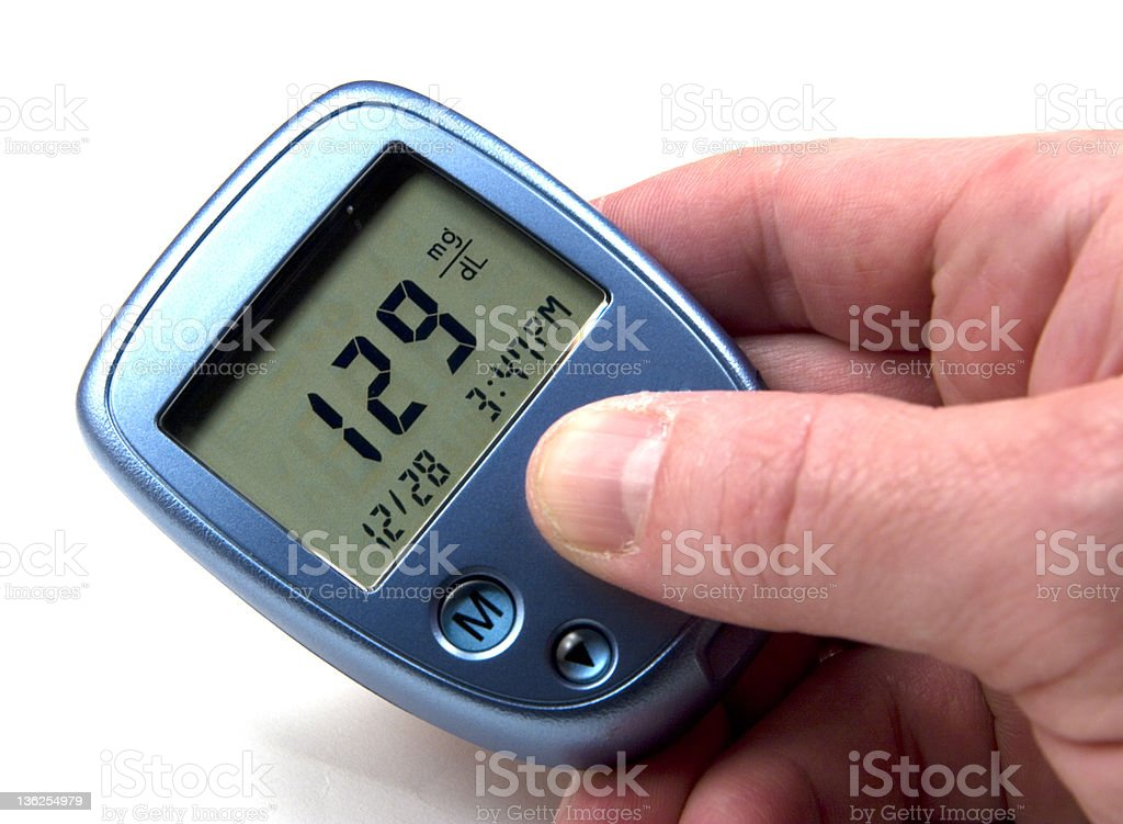 High blood sugar reading on a blue device stock photo