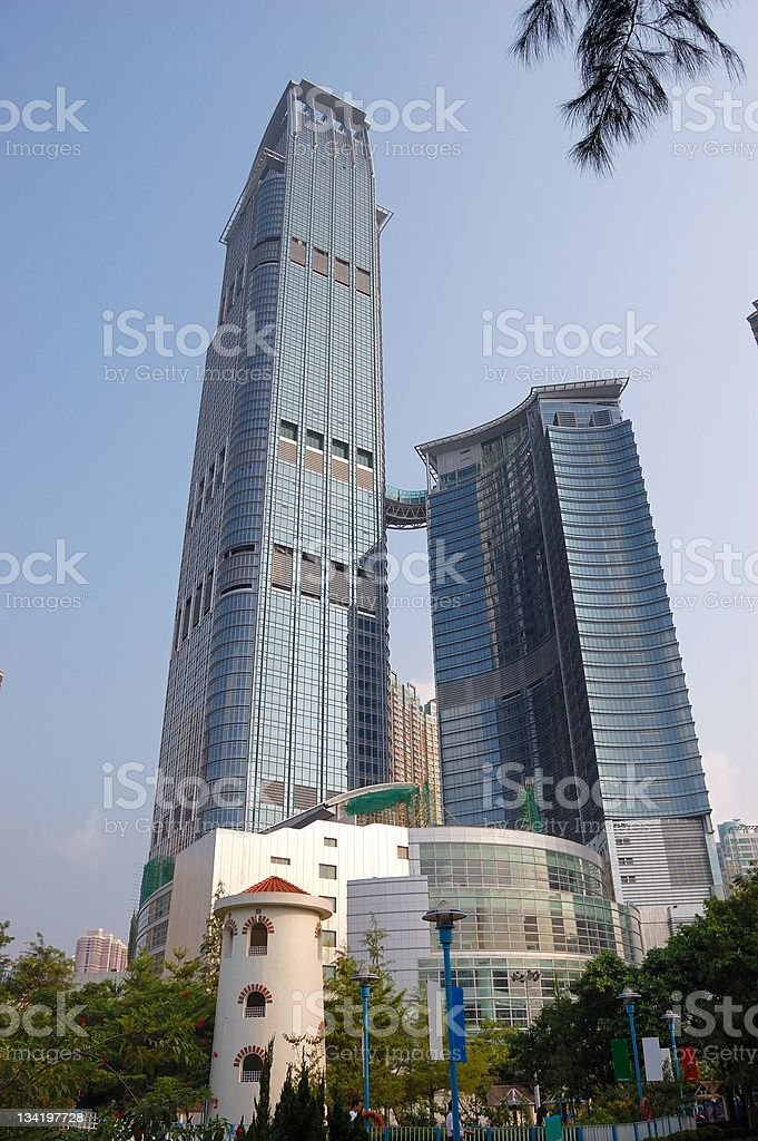High building in downtown stock photo