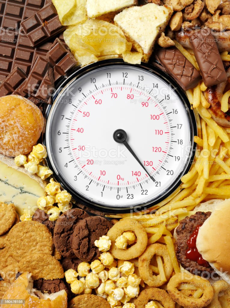High Calorie Food and Weighing Scales royalty-free stock photo