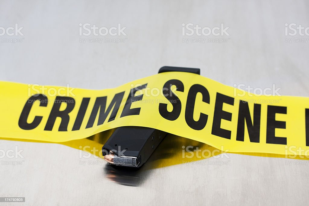 High Capacity 9mm Crime Scene stock photo