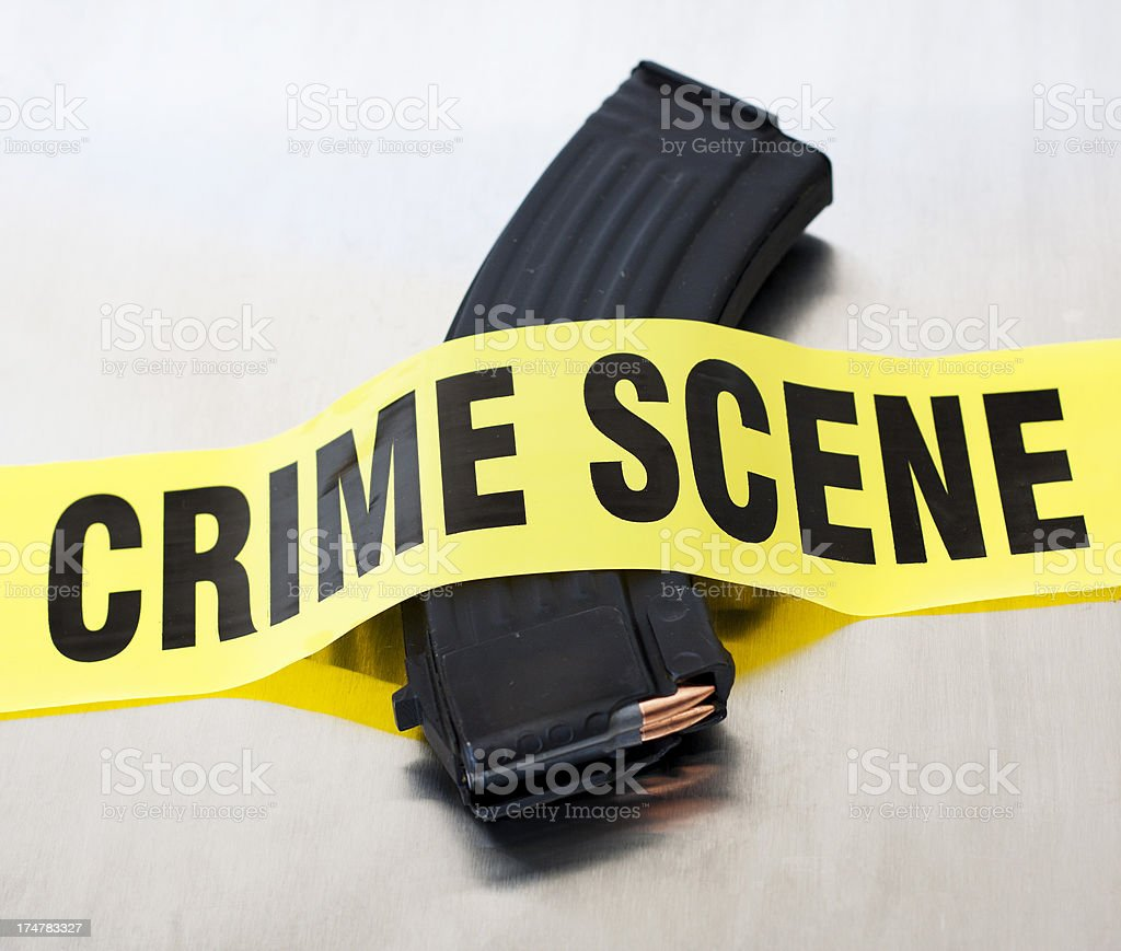 High Capacity AK47 Crime Scene stock photo