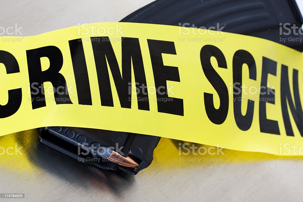 High Capacity AK47 Crime Scene stock photo