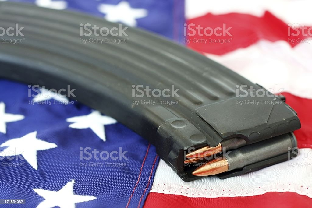 High Capacity Magazine on a US Flag stock photo