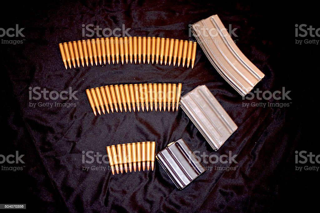High capacity magazines with rounds stock photo
