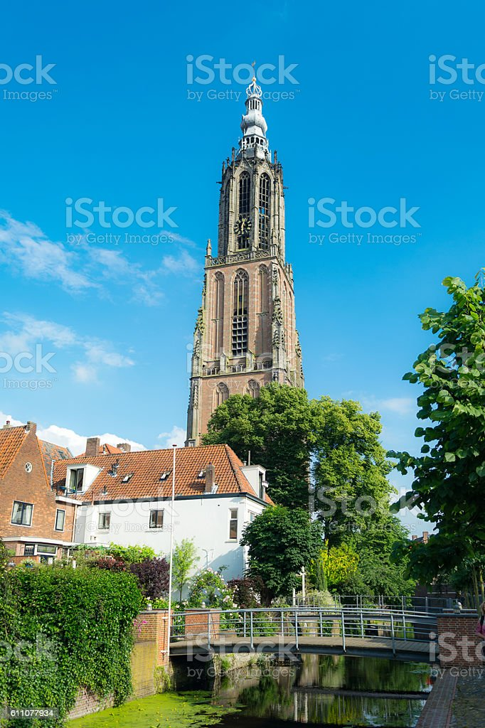 high church tower Amersfoort geographic middlepoint stock photo