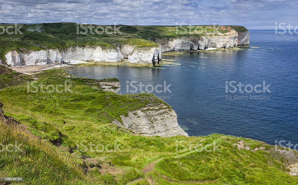 High cliffs, Flamborough Head, Bridlington, Yorkshire, UK. stock photo