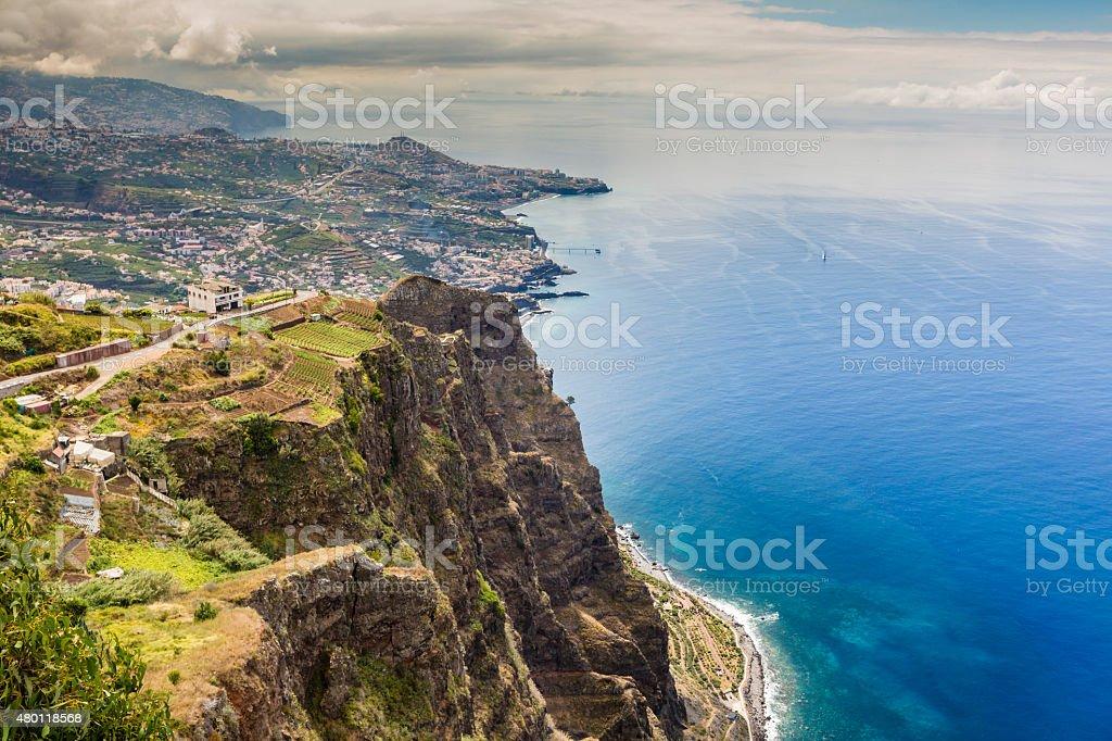 High cliffs of Gabo Girao at Madeira Island, Portugal stock photo