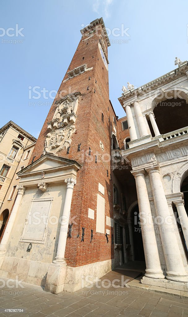 high clock tower of the Palladian Basilica in Vicenza stock photo
