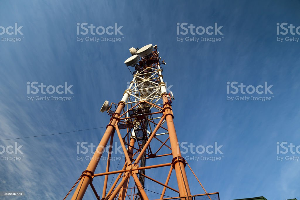High communication tower stock photo