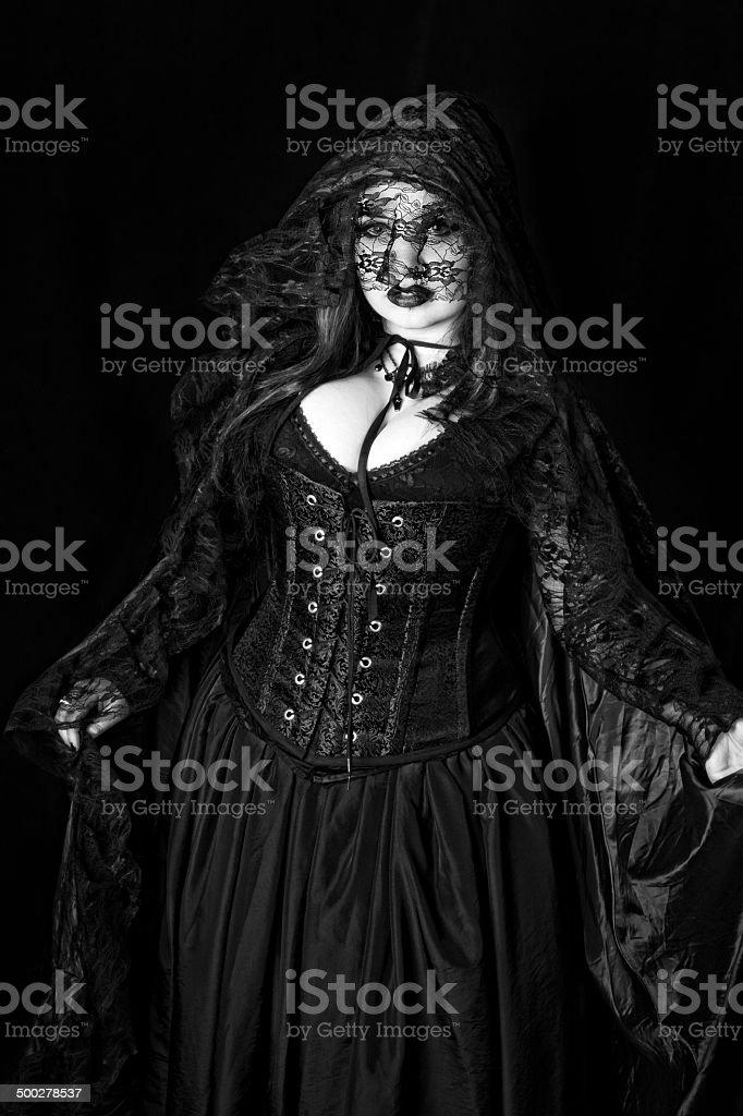 High contrast B&W of Gothic Vampire. stock photo