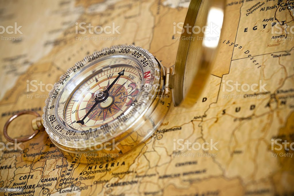 High Contrast Compass and map stock photo