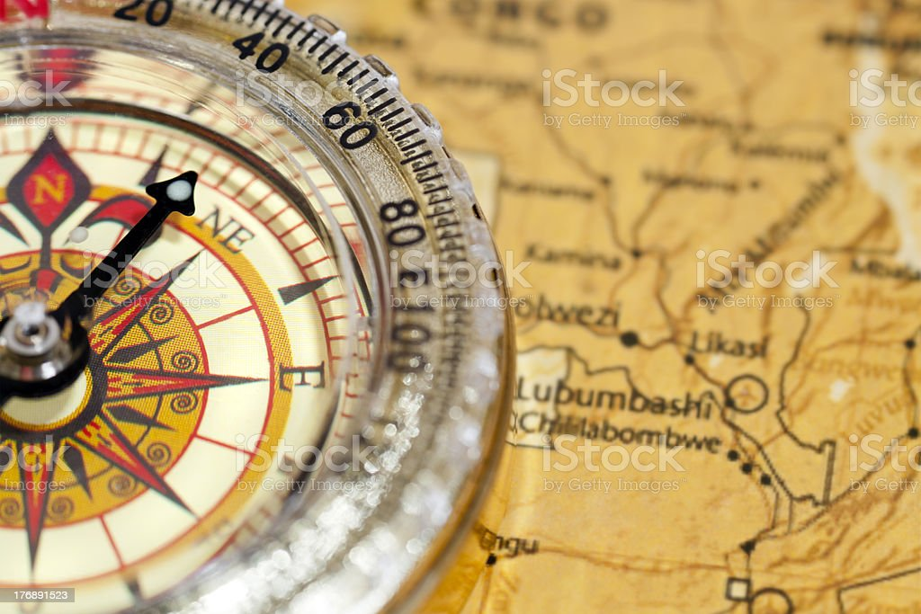High Contrast Compass and map royalty-free stock photo