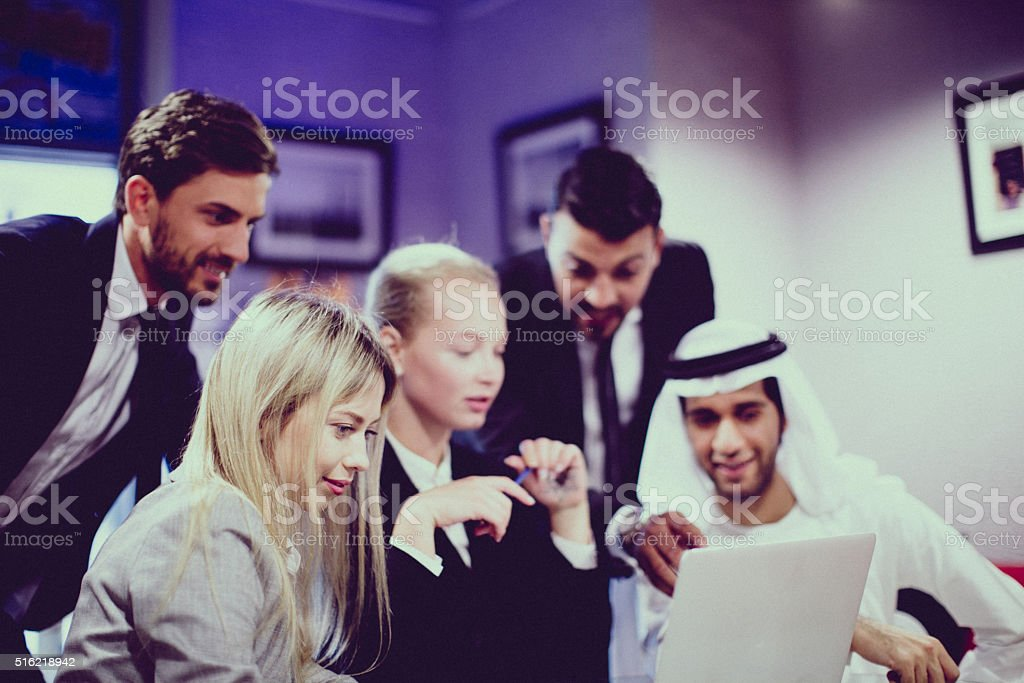 High contrast group of multicultural executives stock photo