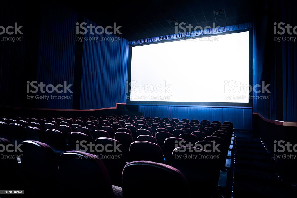 High contrast image of movie theater screen stock photo
