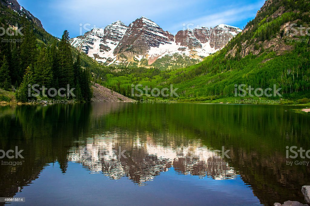 High Contrast Maroon Bells Reflections Aspen Early Summer stock photo
