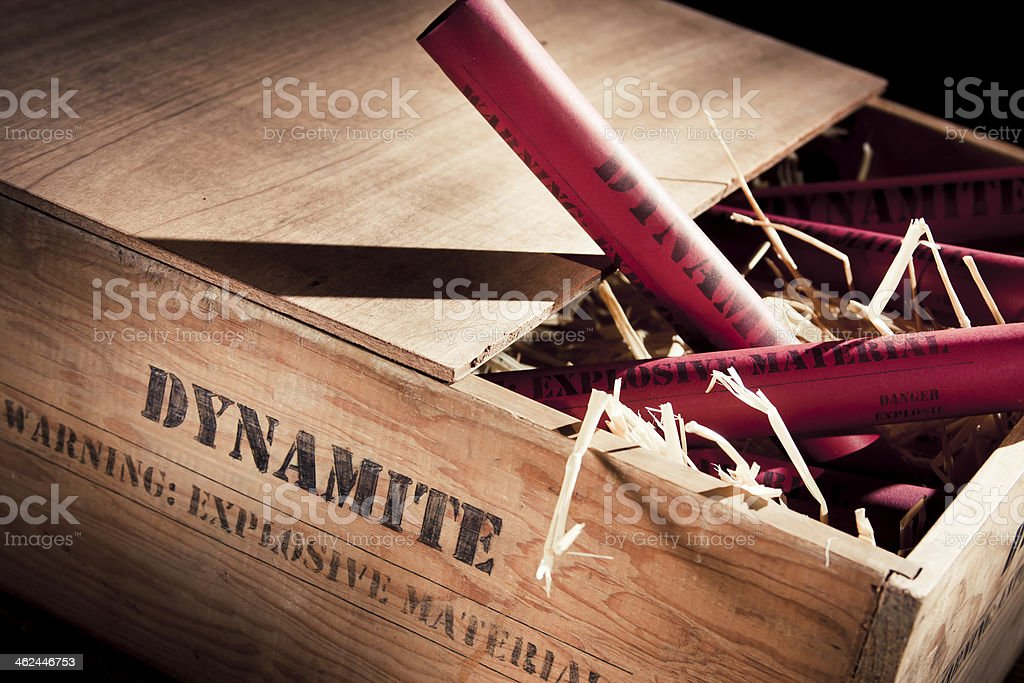 high contrast photo of dynamite sticks on a box stock photo