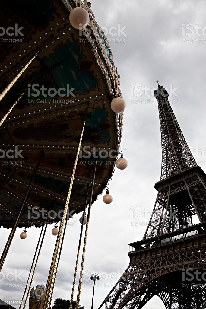 High contrast shot of Eiffel tower and carousel stock photo