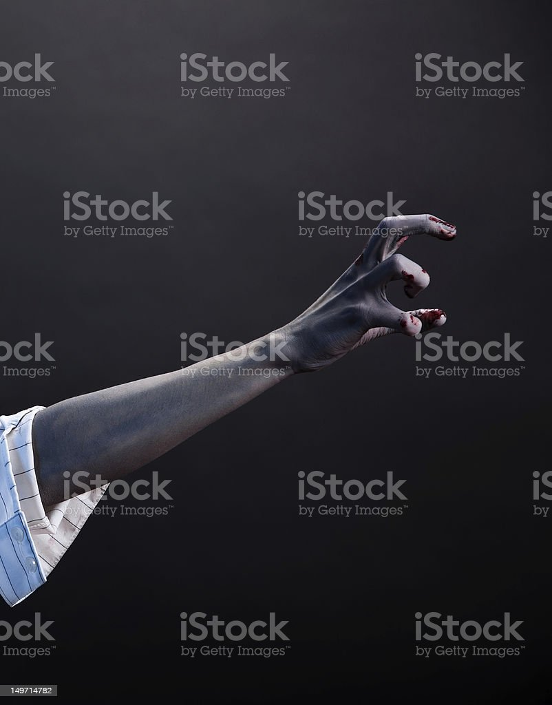 High contrast zombie hand, extreme body-art stock photo