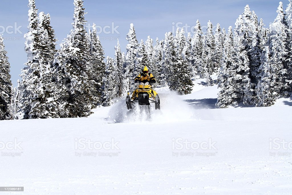 High Country snowmobiling stock photo