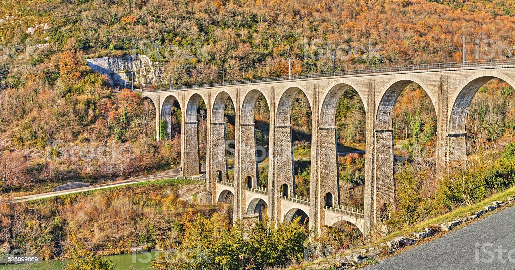 High definition French viaduct in Rhone-Alpes in autumn stock photo