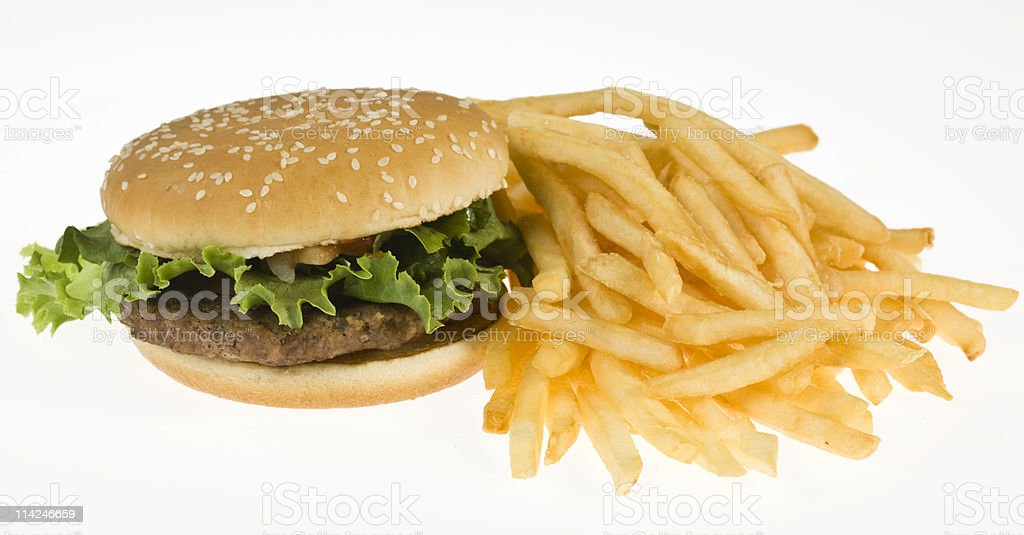 High definition Hamburger and fries royalty-free stock photo