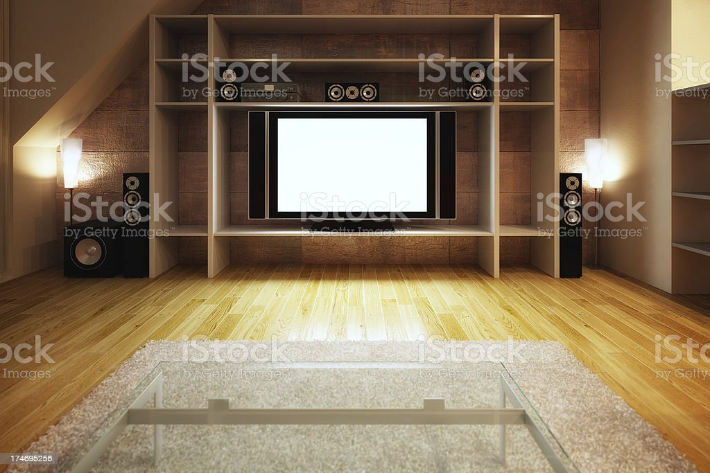 High definition TV on a entertainment center royalty-free stock photo