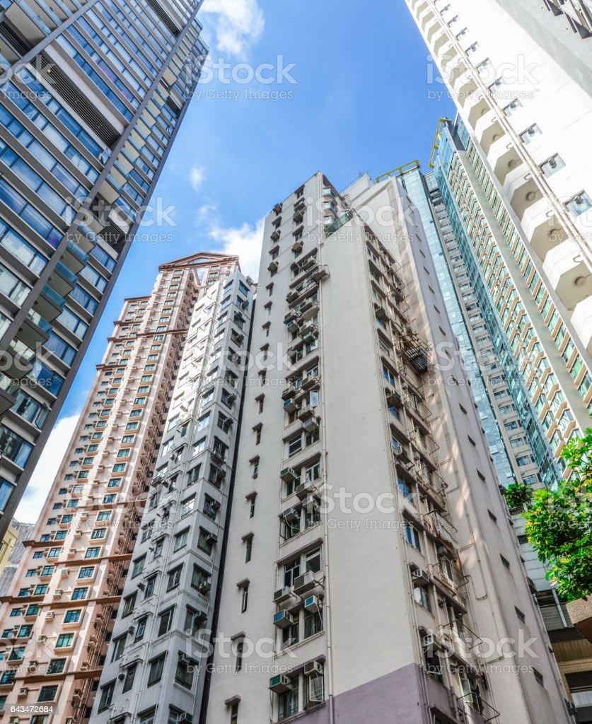 High density apartment buildings in Hong Kong stock photo